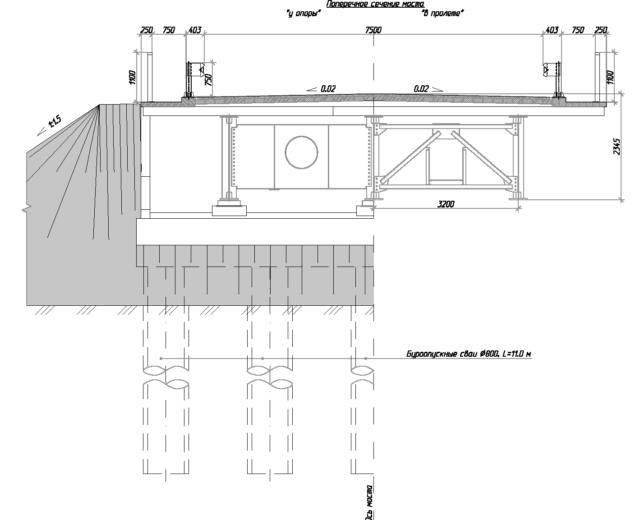 Поперечное сечение мостового перехода р. Крестях