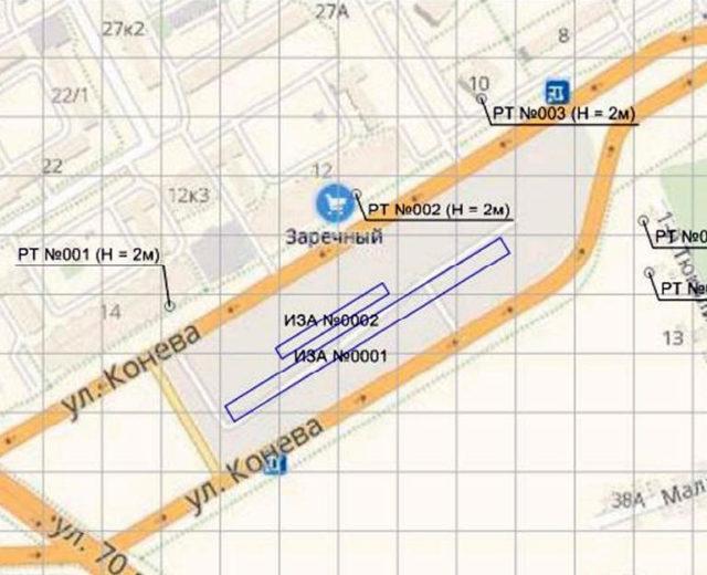 Схема расположение источников загрязнения и расчетных точек на станции «Заречная»