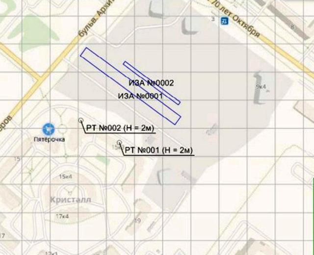 Схема расположение источников загрязнения и расчетных точек на станции «Кристалл»