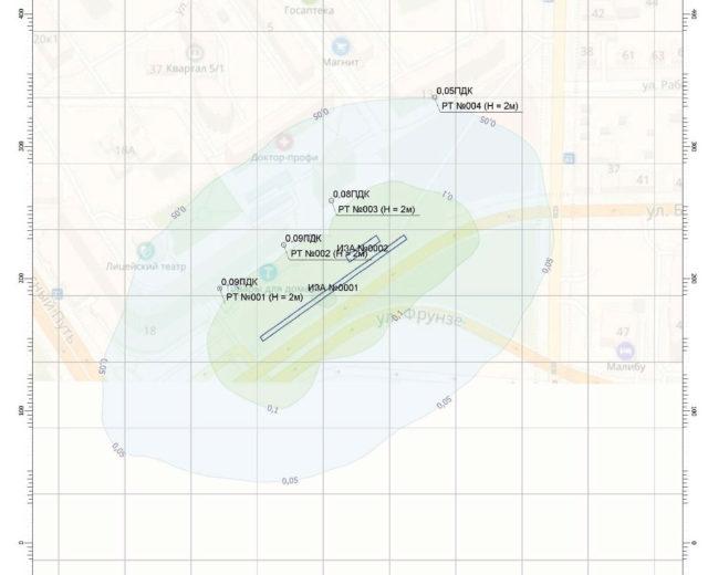 Схема расчетной концентрации Диоксида серы на станции «Библиотека Пушкина»